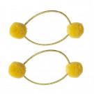Set van 2 gele pompon haarrekkers - Hair elastic pompom yellow