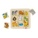Houten puzzel :Wie eet wat? (Geboortelijst Emiel V.d.M.)