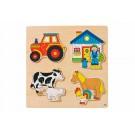 Houten puzzel : Op de boerderij (Geboortelijst Emiel V.d.M.)
