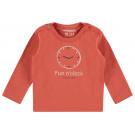 Oranjerode t-shirt met klok - Burnt sienna slim t-shirt randburg