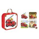 Koffer met 4 puzzels : De bluswagen van Leon (Geboortelijst Babette V.K.)