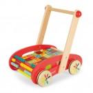 Houten ABC- wandelwagen met houten blokken (Geboortelijst Nova L.)