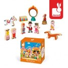11- delig doosjes met houten circus figuurtjes