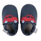 Leren kindersloefjes met  auto's  - maat XL (21 tot 27maand) (Geboortelijst Loïc P.)