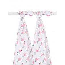 Set van 2 tetradoeken : flamingo