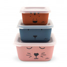 Set van 3 snackdoosjes bamboe - Snackbox bamboe animal club