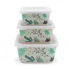 Set van 3 snackdoosjes bamboe - Snackbox bamboe leaves