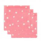 Set van 3 roze tetradoeken met witte stippen