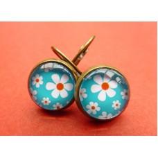 Kleine oorhanger met blauwe flower power