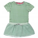 Muntgroen strepenkleedje met tule rokje - dress green stripes tule