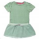 Muntgroen strepenkleedje met tule rokje - dress green stripes tule - maat 92 (Geboortelijst Fran V.L.)