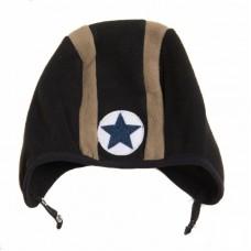 Zwart- bruine fleece muts met flappen en ster - speed hat camel- black button