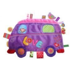 Knuffel- en labeldoekje paarse hippie bus