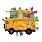 Knuffel- en labeldoekje gele schoolbus (Geboortelijst Eppo R.H.)