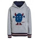 Lichtgrijze sweater met blauw monster