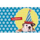 Wenskaart hond met feesthoed - feestbeest