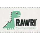 Wenskaart met dino - Rawr! gelukkige verjaardag