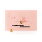 Wenskaart beer roze - grote avonturen beginnen klein + rubber beertje
