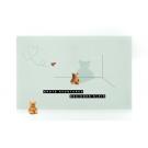 Wenskaart beer blauw - grote avonturen beginnen klein + rubber beertje