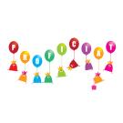 Wenskaart vogeltjes met ballonnen - proficiat