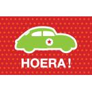 Wenskaart met auto met ster - hoera
