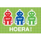 Wenskaart met 3 robots - biep biep hoera