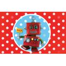 Rood kaartje met witte stippen en robot - biep