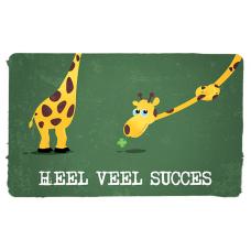 Wenskaart giraf met klavertje 4 - heel veel succes