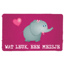 Wenskaart olifant met fopspeen en roze ballon - Wat leuk, een meisje