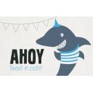 Wenskaart met haai - Ahoy feest in zicht!