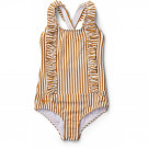 Moa swimsuit seersucker -Mustard/white