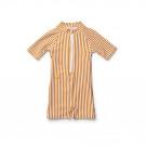 UV- Max swim jumpsuit seersucker - Mustard/white