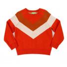 Mandarijnrode sweater - Livia colourblock sweater tangerine red