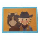 Turquoise boterhamdoos met een cowboy en zijn paard (Wenslijst Vince V. L.)