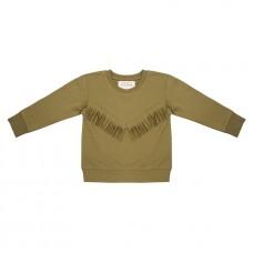Olijfgroene sweater met franjes - Boho sweater olive