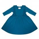 Petrol kleedje met franjes - Boho dress blue