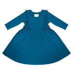 Petrol kleedje met franjes - Boho dress blue