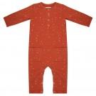 Roestkleurig kruippakje met stipjes - jumpsuit dots picante