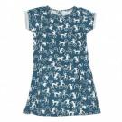 Grijsblauw kleed met aapjes - Odette crazy monkeys