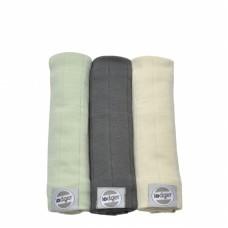 Set van drie zachte tetradoeken - leal/carbon en ivory