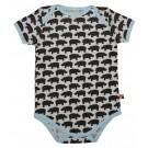 Body korte mouwen met bruine nijlpaarden