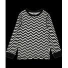 Zwart witte t-shirt lange mouwen met golven - top longsleeve waves balck /white