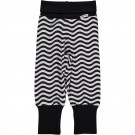 Zwart wit babybroekje met golven - pants rib waves black white
