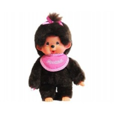 Monchhichi-pop meisje met roze slab 20cm (klein formaat)
