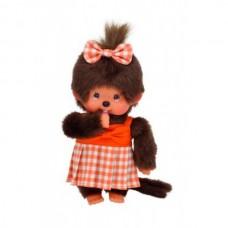 Monchichi met oranje geruit kleedje (20cm)