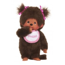 Monchhichi-pop meisje met wit-roze slab 20cm (klein formaat)