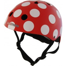 Helm rood met witte stippen : small