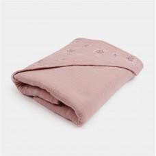 Oudroze XL-badcape met bloemetjes - Bathcape pink heather