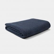 Donkerblauw gebreid wiegdeken - Blanket knitwear misty blue