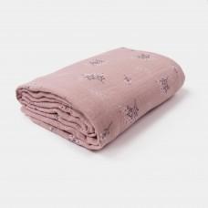 Oudroze XL tetradoek met bloemetjes - Swaddle large pink heather